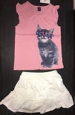 Gap New size 4 outfit shirt skort top shirt cat kitty 4th of July skirt