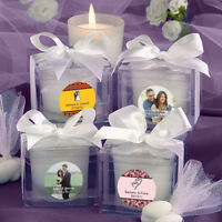 25-96 Personalized White Frosted Votive Candles - Wedding Shower Party Favors