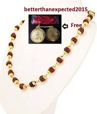 5 MUKHI RUDRAKSHA WITH GOLD PLATED CAP MALA FIVE FACE RUDRAKSH BEAD+FREE PENDANT