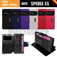 Funda soporte libro ventana Sony Xperia XA + protector cristal lapiz opcional