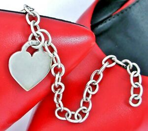 ATI Mexico Sterling Silver 925 Cable Link Heart Charm Bracelet
