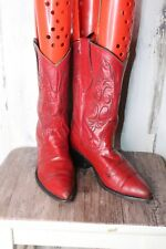 Nocona 6 B Red Leather Vintage Women's Western Boots