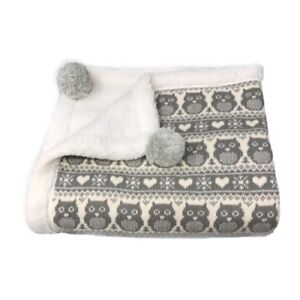 effe bebe Snow Owl Cotton Knit Sherpa Baby Blanket