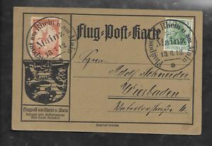 DR Flugpost 1912 Postkarte Mainz nach Wiesbaden