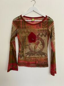 Save The Queen women's Y2K micro mesh multicolored long sleeve top size L