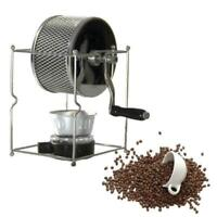 Protable Manual Coffee Bean Roaster Stainless Steel Mill Hand Crank Roasting New