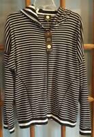 JNY Jones New York Sport Womens XL Hooded Casual Jacket NWT Black White Stripe