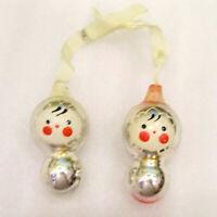 2 Vintage USSR Russian Glass Christmas Ornaments X-mas Tree Decorations Dolls