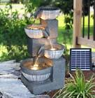 Solar 4 Tier Cascading Fountain Outdoor Garden Water Feature Led Statues Home