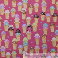 BonEful Fabric FQ Cotton Quilt Pink Purple Girl Ice Cream Cone Heart Small Retro