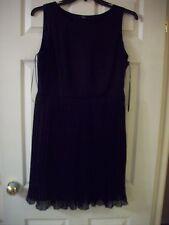 F&F Ladies Black Elegant Chiffon Pleated Skirt Eve Dress Lined 37'' Long sz 14