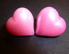 Pink Pearl Heart Stud Earrings