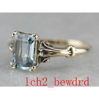 Vintage 925 Silver Aquamarine Engagement Gem Wedding Ring Wholesale Sz 6-10