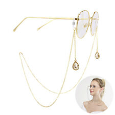 Eyeglass Cord Reading Glasses Eyewear Spectacles Drop Chain Strap Holder GoldLD