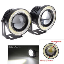 NEW  2 x 2.5'' Angel Eyes Halo Car White Fog Light Lamp Projector DRL W/ COB LED