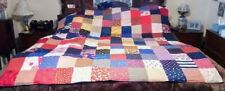 COUNTRY COTTAGE RED WHITE BLUE STARS STRIPES FOLK ART AMERICANA PATCHWORK QUILT