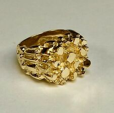 10kt Solid Yellow Gold Handmade Mens Fashion Nugget Design Ring 20 grams