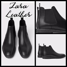 Zara Men Black LEATHER ankle boots with track soles 5699/302/040. Size 13/46