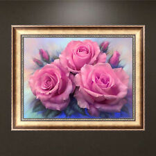 DIY 5d Diamond Painting Pink Roses Embroidery Cross Stitch Home Wall Decor