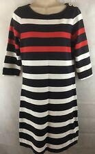 Lands' End Nautical Cotton Knit Dress Navy White Red Striped Size XS 3/4 Sleeves