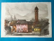 TYPICAL VILLAGE IN TICINO, SWITZERLAND LITHOGRAPH BY RENE VILLIGER