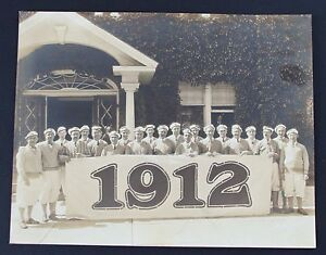 1912 Large Group Of Country Club Golfers Dressed in Knickers Original Photograph