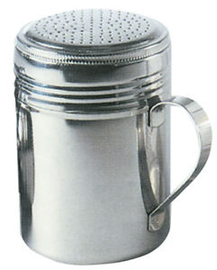 Stainless Steel Chocolate Shaker Flour Sifter Sprinkler Dredger Barista 10oz