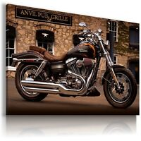 HARLEY DAVIDSON BLACK MOTOR BIKE PUB Wall Canvas Picture ART  HD3  MATAGA