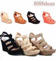 Women's Platforms Wedges Heels Comfort Strappy Open Toe Sandal Shoes Size 5 - 11