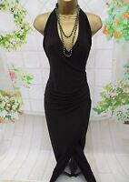 LADIES DRESS - LIPSY BLACK WITH GOLD SHIMMER WRAP OVER  - FULL LENGTH - SIZE 10