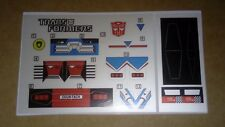A Transformers complete premium quality replacement decal sheet for G1 Sideswipe