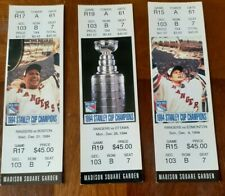 1994-95 NHL STANLEY CUP CHAMPIONS 3 NEW YORK RANGERS FULL UNUSED TICKETS