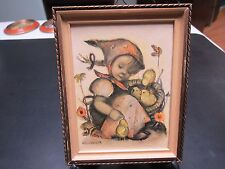 Vintage  Genuine Hummel Picture #8~THE LITTLE CHICK GIRL~Germany~W/Wood Frame