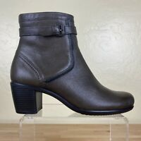 Ecco Zip Ankle Heel Boots Womens Size 39 / 8-8.5 Brown Leather
