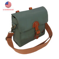 Tourbon Vintage Bike Bag Canvas&Leather Handlebar Rear Pannier Bag Green in US