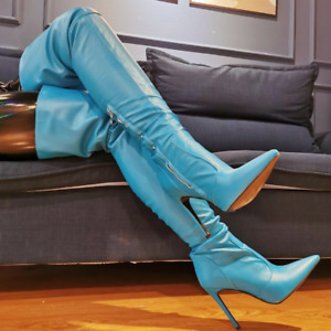 Womens Pointed Toe Stiletto Zip Over The Knee Thigh-High Boots Nightclub Shoes