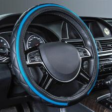 Universal Car Steering Wheel Hub Cover Soft Leather Blue Black Waterproof 38 cm