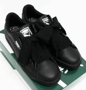 NIB PUMA Women's Basket Heart Black Silver Leather Sz 7.5 Tennis Shoes Sneakers