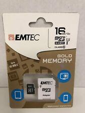 White Emtec 16 GB Class 10 Mini Jumbo Micro SDHC Memory Card Up To 45 MB/s Gold