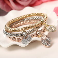 3pc Women Fashion Bracelet Gold Silver Pinkgold Rhinestone Bangle Charm Love
