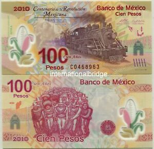 Mexico 2010 Commemorative Polymer Banknote 100 Pesos UNC Without Folder