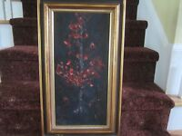 Preker Finland Red Maple tree at night oil on masonite painting framed RARE!