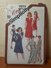 Vintage 1981 Simplicity 9899  Misses' fitted dress with neckline variations