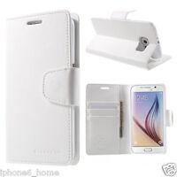 Genuine MERCURY Goospery White Leather Flip Case Wallet For Galaxy S6 & S6 Edge