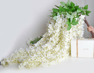 White Wisteria Garland 5 Silk Wisteria Hanging Flowers For Wedding Arch Ceiling