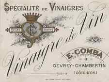 """VINAIGRE DE VIN E. COMBA Gevrey-Chambertin"" Etiquette-chromo originale fin 1800"