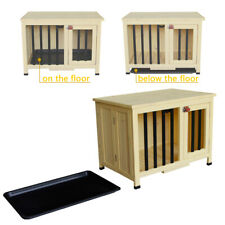 "28"" Pet Plastic Feet Shelter Dog House Pet Bed Wood Shelter Kennel Home Beige"