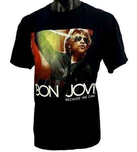 "BON JOVI ""Because We Can"" tour T Shirt black cotton sz XL Fruit Of The Loom 2013"