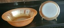 Iridescent Orange Carnival Glass Bowl & Fruit Bowl Fire King Oven Ware - 2 Piece