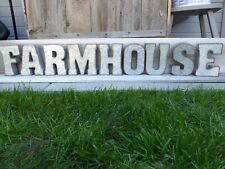 """Galvanized 7"""" Metal FARMHOUSE Marquee Wall Shelf Decor INDUSTRIAL Letter Sign"""